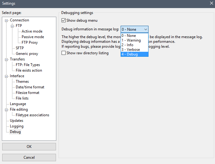 Enable debug mode on Filezilla - EN Ikoula wiki
