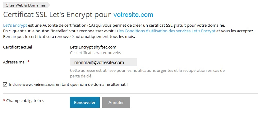 Establishment And Renewal Of A Certificate Let S Encrypt